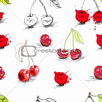 Seamless background with stylized cherry