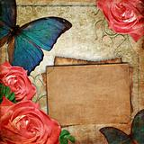 Vintage card for the holiday with blue butterfly and roses