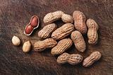 Peanuts on wood.