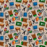 Cartoon school icons seamless pattern