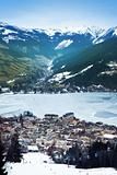 Aerial view down on Zell Am See (Austria, Alpes) town