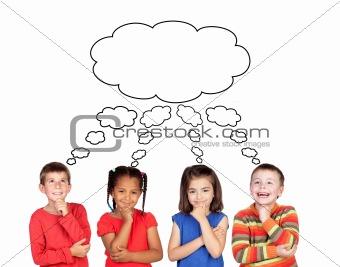 Four pensive children