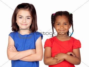 Adorable girls with crossed arms