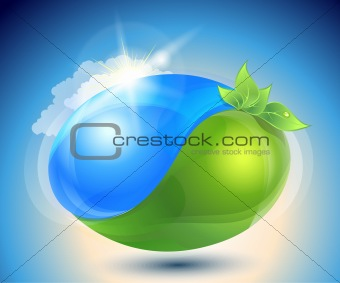 Eco-icon with nature yin-yang