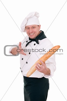 chef with loaf