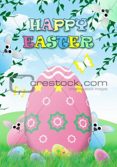 Chubby easter bunnies with giant egg