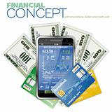 Financial Concept with Touchphone, Dollar Bills and Credit Cards