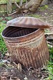 Rusty old trashcan