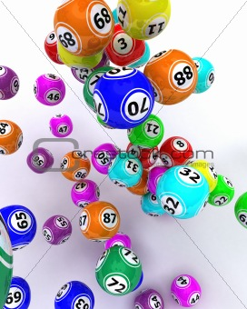 a set of coloured bingo balls