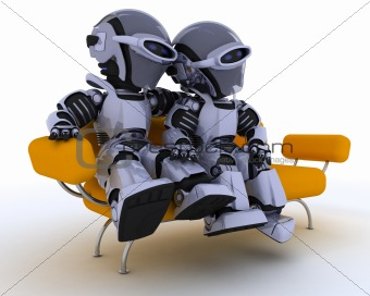 robots on a sofa