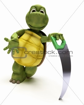 Tortoise with a wood saw