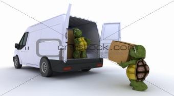 tortoises loading a van