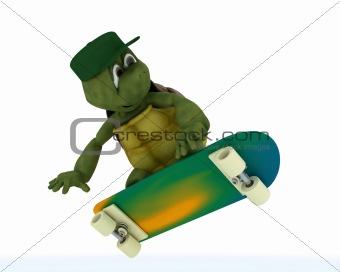 tortoise riding a skateboard