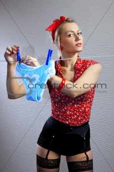 beautiful housewife hangs out shorts