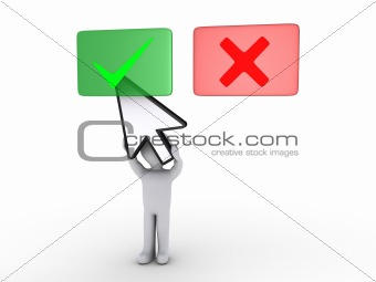 Person holding cursor is selecting green panel