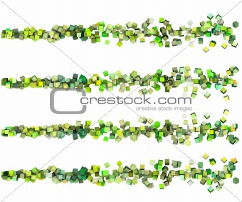 3d render strings of cubes in multiple shades of green