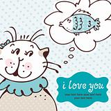 Cat in love card