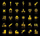 Set symbols danger icons
