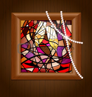 wooden frame and stained glass with champagne