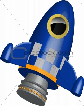 Blue little rocket ship with flames illustration
