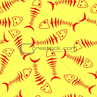 Seamless wallpaper skeleton fish