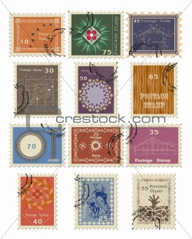 Stamp set for sale. Vector illustration.