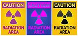 Stikers Caution Sign. Labels Radiation Hazard symbol