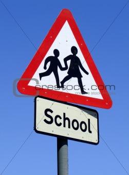 British School roadside warning sign.