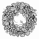 Retro grapes wreath black and white