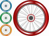 set of colored bike wheel with tire and spokes