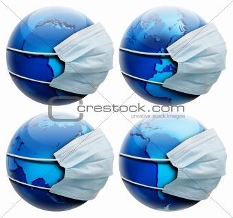 abstract allegory concept with earth and flu mask,  few globe po