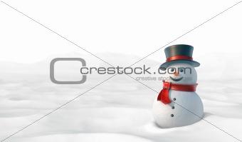 Cute snowman in snowy mountain landscape.