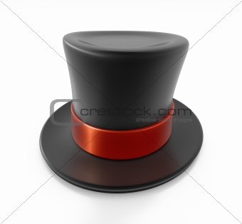Black top hat with red strip.