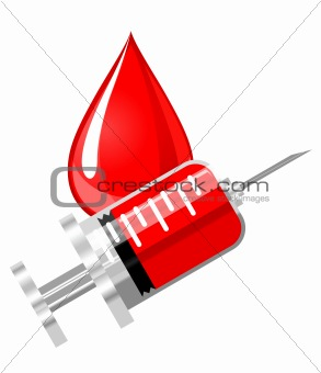 Blood drop and syringe