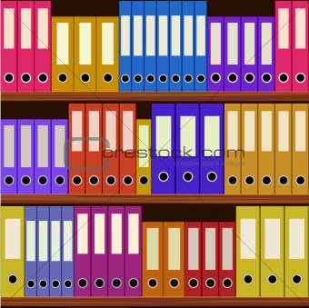 seamless shelfs with many-coloured folders
