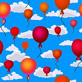 red balloons flying up in the sky seamless