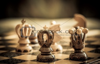chess with focus to black king in front