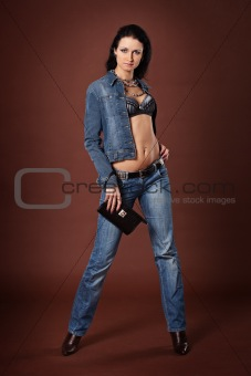 Beautiful fashionable girl in jeans