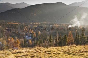 autumnal landscape surrounding the city Zakopane
