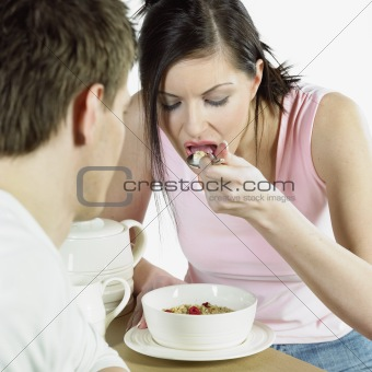 couple during breakfast