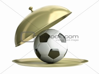 Soccer ball on a tray