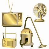 golden retro electric objects