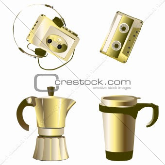 golden retro objects