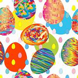pattern with many painted eggs