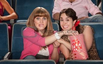 Anxious Women With Popcorn