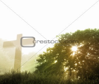 Cross and god rays