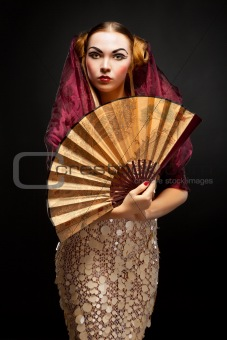 Beautiful young geisha girl