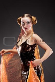 Beautiful young geisha girl