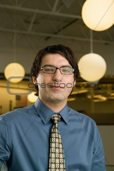 Office worker wearing glasses