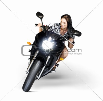 Woman Riding Motorbike At Speed
